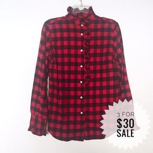 💃Ralph Lauren Sport Buffalo Plaid High Neck Shirt